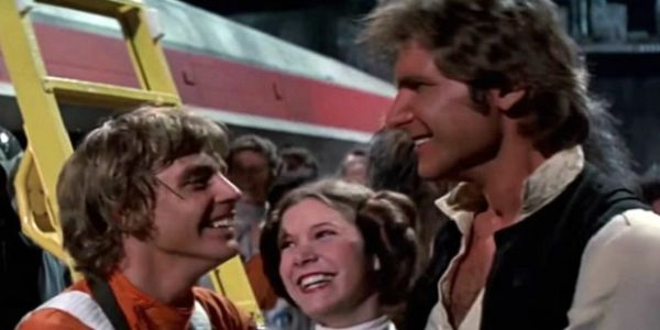 Mark Hamill Carrie Fisher and Harison Ford in Star Wars: A New Hope