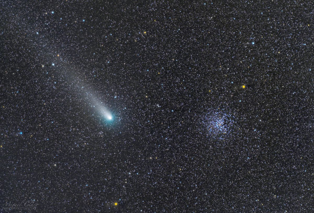 Comet 21P Crosses Paths with a Star Cluster in Sparkling Deep-Space Image