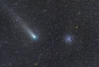 Comet 21P/Giacobini-Zinner passes by the open star cluster M37 on Sept. 10, 2018, in this deep-space image by astrophotographer Miguel Claro.