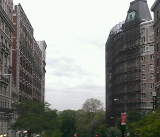 A view of the Manhattanhenge sunset, clouded out on May 29, 2014, as seen on 116th Street, looking west from Broadway.