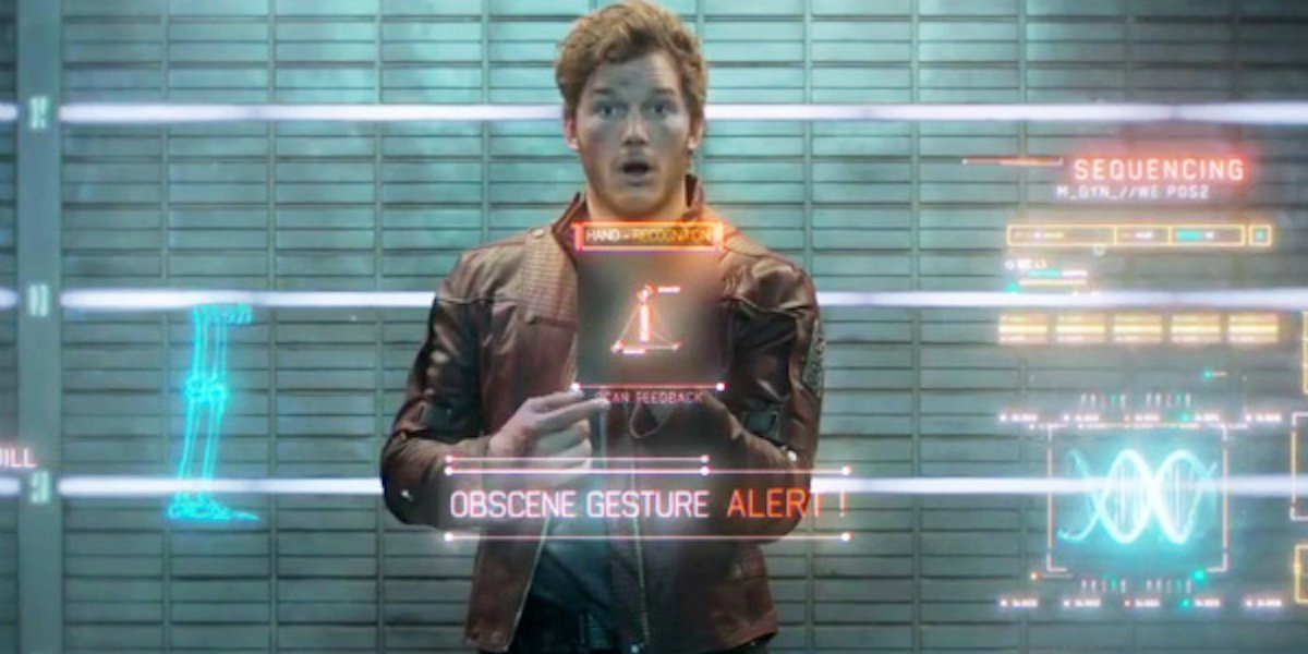 Guardians of the Galaxy Peter Quill flipping a censored middle finger