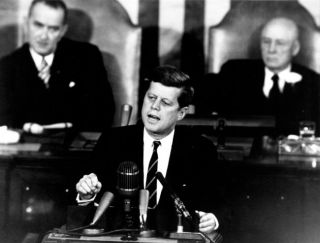 President John F. Kennedy speaks before a joint session of Congress, May 25, 1961. In this address, the president announced that the United States would aim to put astronauts on the moon by the end of the 1960s.