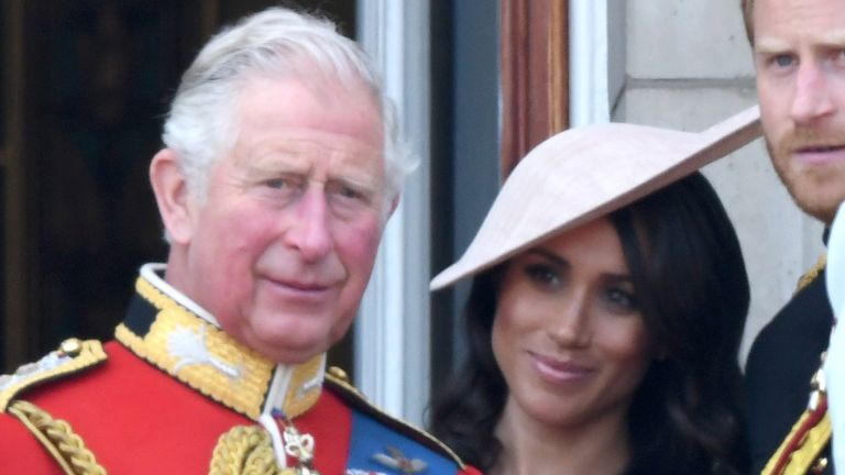 LONDON, ENGLAND - JUNE 09: Queen Elizabeth II, Prince Charles, Prince of Wales, Meghan, Duchess of Sussex, Prince Harry, Duke of Sussex, Catherine, Duchess of Cambridge and Princess Charlotte of Cambridge on the balcony of Buckingham Palace during Trooping The Colour 2018 at The Mall on June 9, 2018 in London, England. The annual ceremony involving over 1400 guardsmen and cavalry, is believed to have first been performed during the reign of King Charles II. The parade marks the official birthday of the Sovereign, even though the Queen's actual birthday is on April 21st. (Photo by Karwai Tang/WireImage)