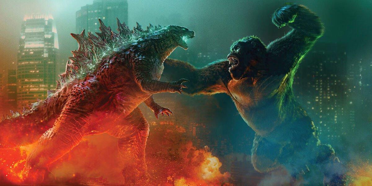 Godzilla vs Kong poster in city