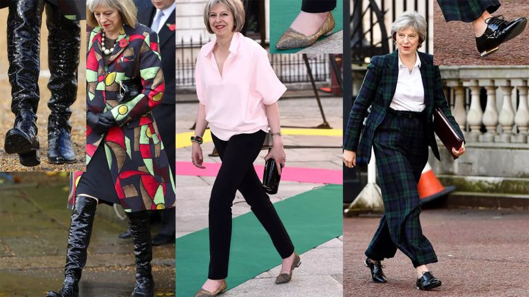 a collage of Theresa May during outings showing closeups of Theresa May's shoes