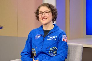NASA astronaut Christina Koch, home from a record-setting 328-day mission on the International Space Station, answered reporters' questions about her milestone flight at a press conference at NASA's Johnson Space Center in Houston on Feb. 12, 2020.