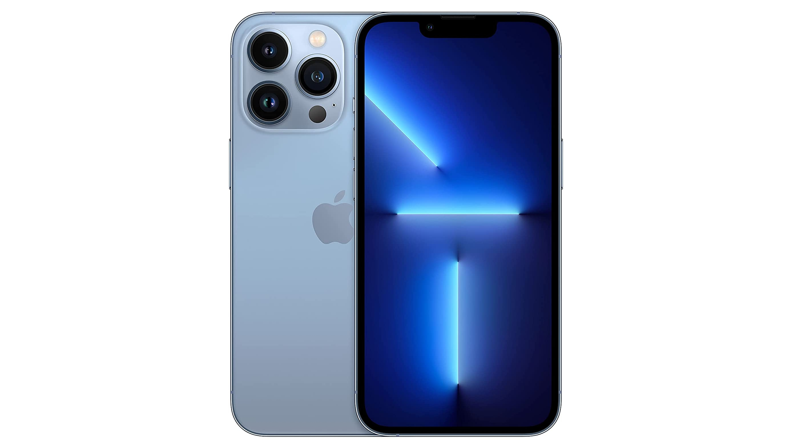 An iPhone 13 Pro in blue, against a white background
