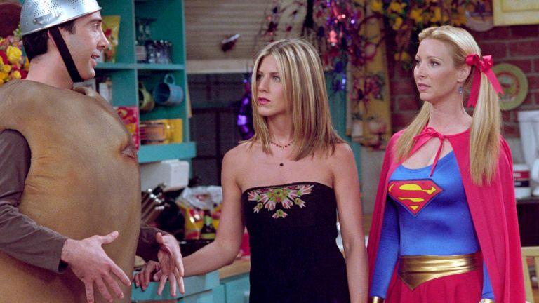 "Film Still / Publicity Still from ""Friends"" Episode: The One With The Halloween Party David Schwimmer, Jennifer Aniston, Lisa Kudrow 11-01-2001 (Season 8) © 2001 Warner / NBC File Reference # 308471080THA For Editorial Use Only - All Rights Reserved"