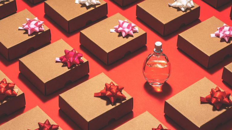 Perfume bottle and wrapped gifts