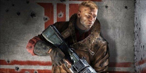 Wolfenstein character holding gun