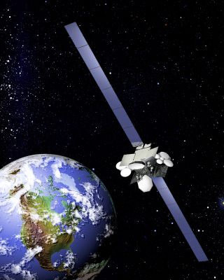 An artist's illustration of the Anik F2 telecommunications satellite in orbit.