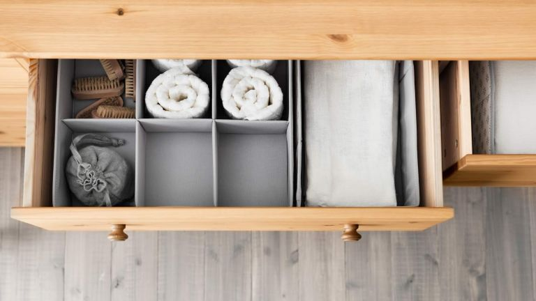 Marie Kondo tidying up: drawers neatly divided