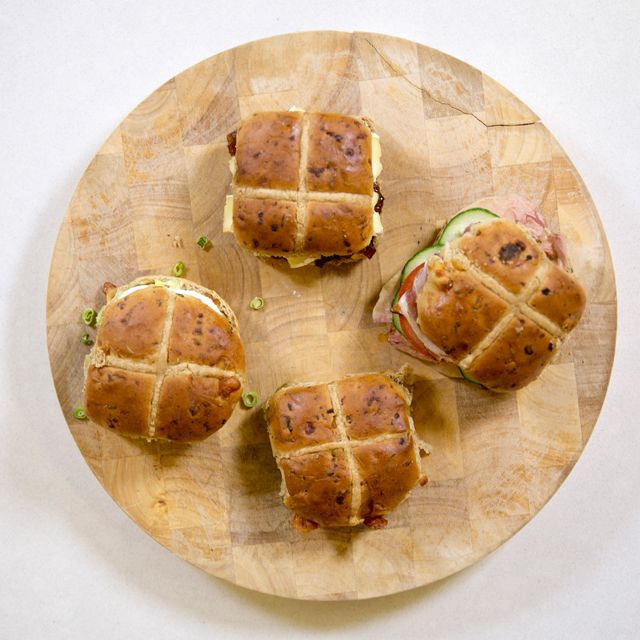Savoury hot cross bun
