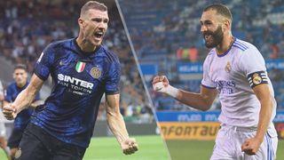 Inter Milan vs Real Madrid live stream — Edin Dzeko of Inter Milan and Karim Benzema of Real Madrid