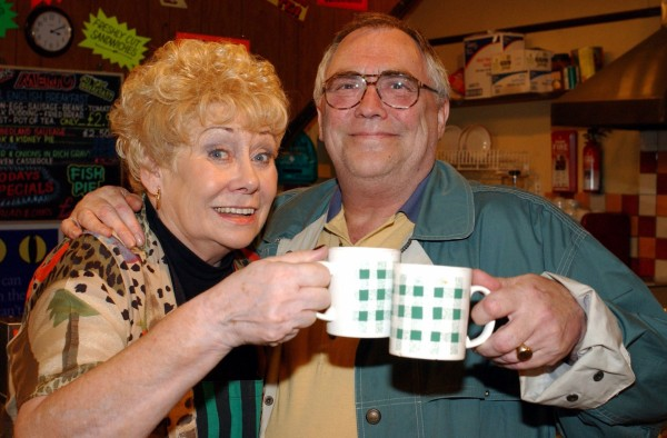 Coronation Street star Liz Dawn with her on-screen husband, played by Bill Tarmey