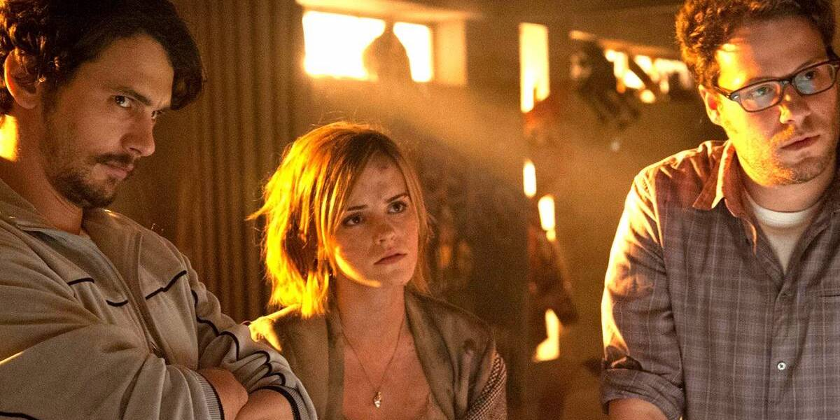 James Franco, Emma Watson and Seth Rogen in the apocalypse in This is the End