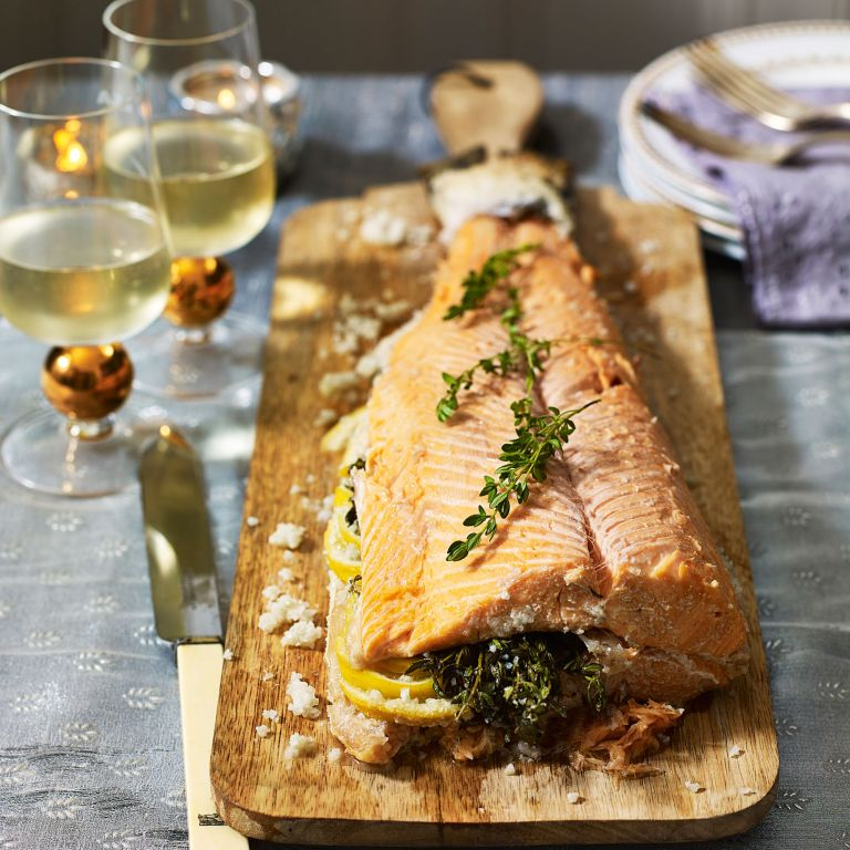 Whole Baked Salmon in Salt