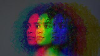 Multiple Exposure, dark skinned female - stock photo