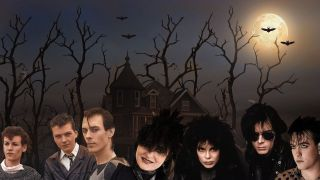 Goth musicians in a forest