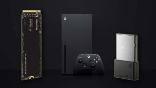 An image of an Xbox Series X with a WD SSD on one side and a Seagate expansion drive on the other