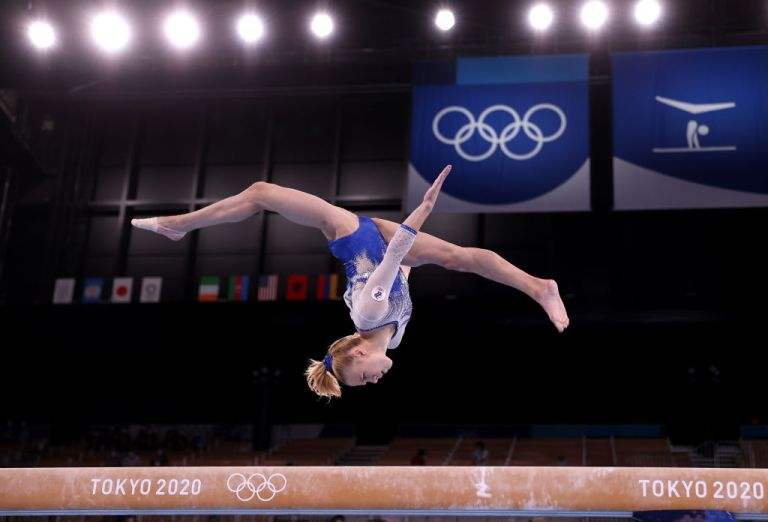 TOKYO JAPAN JULY 27 Viktoriia Listunova of Team ROC competes in balance beam during the Womens Team Final on day four of the Tokyo 2020 Olympic Games at Ariake Gymnastics Centre on July 27 2021 in Tokyo Japan Photo by Laurence GriffithsGetty Images