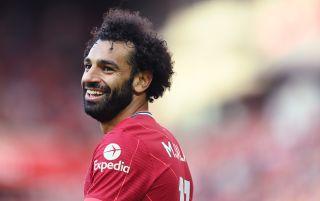 Liverpool forward Mohamed Salah smiling | Liverpool v AC Milan live stream