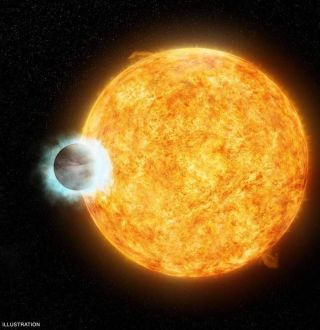 An artist's conception of WASP-18b, a giant exoplanet that orbits very close to its star.