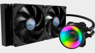 Cooler Master MasterLiquid ML280 all-in-one liquid cooler on a gray background.