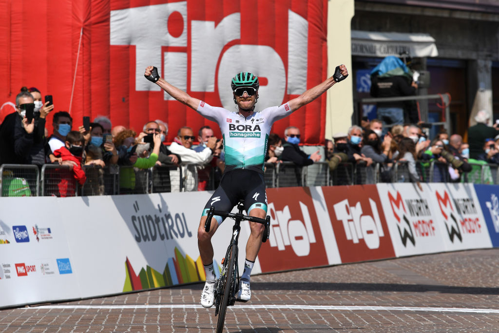 RIVA DEL GARDA ITALY APRIL 23 Felix Groschartner of Austria and Team Bora Hansgrohe celebrates at arrival during the 44th Tour of the Alps 2021 Stage 5 a 1209km stage from Valle del Chiese Idroland to Riva del Garda TourofTheAlps TouroftheAlps on April 23 2021 in Riva del Garda Italy Photo by Tim de WaeleGetty Images