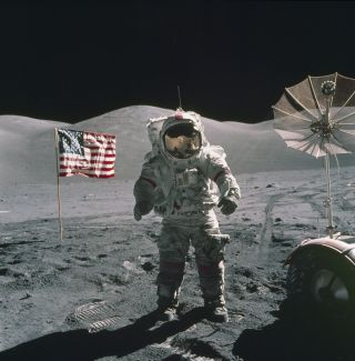 Eugene Cernan, Apollo 17 commander and the last Apollo astronaut to walk on the moon. Following Apollo, NASA is working to launch its next crewed lunar landing mission Artemis, which will land the first woman on the moon.