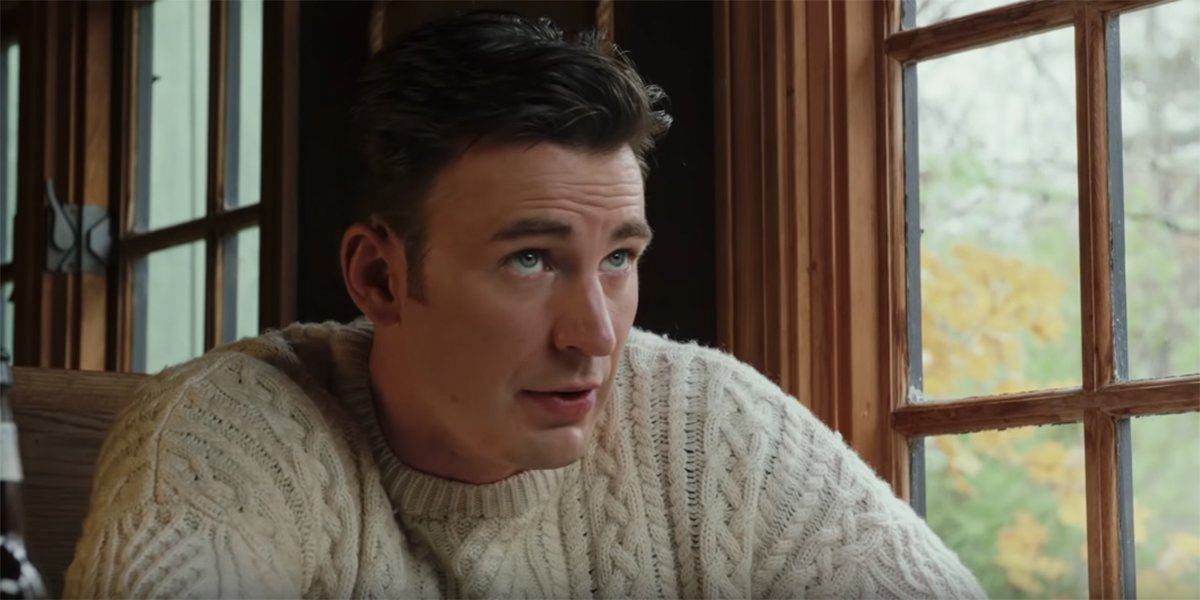 Chris Evans wearing a comfy sweater in Knives Out