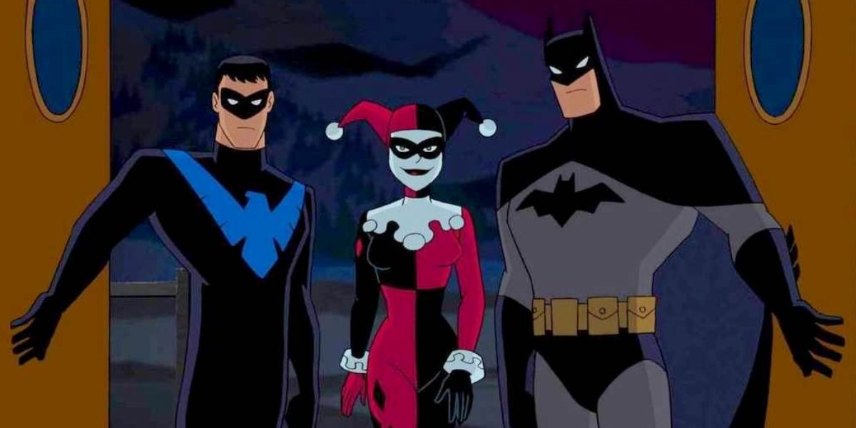 Loren Lester, Melissa Rauch, and Kevin Conroy in Batman and Harley Quinn