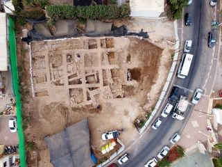 a photo from above the citadel during excavation