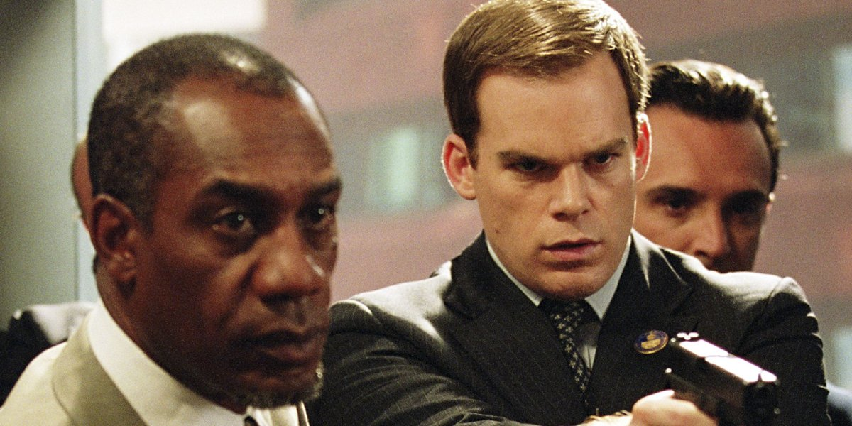 Joe Morton and Michael C. Hall in Paycheck
