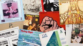Montage of rare Led Zeppelin album sleeves