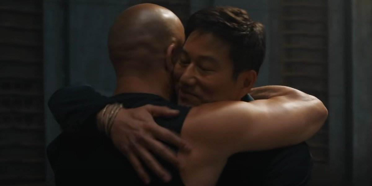 Vin Diesel as Dominic Toretto and Sung Kang as Han Lue in F9 (2021)