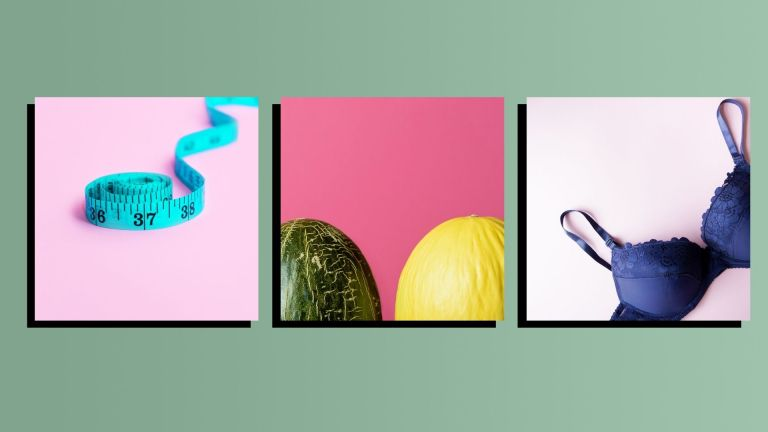 A photo of a tape measure, two melons and a bra on a green background to represent learning how to measure bra size