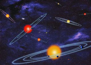 This NASA artist concept depicts multiple-transiting planet systems, which are stars with more than one planet. The planets eclipse or transit their host star from the vantage point of the observer. This angle is called edge-on.