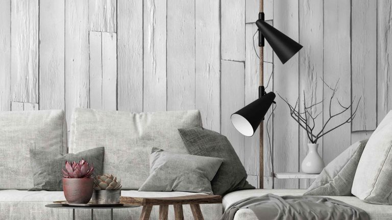 grey panelled wood effect wallpaper by woodchip & magnolia