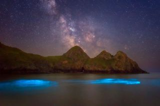 Alyn Wallace captured this image of bioluminescent plankton at Three Cliffs Bay near Swansea on June 19, 2017.