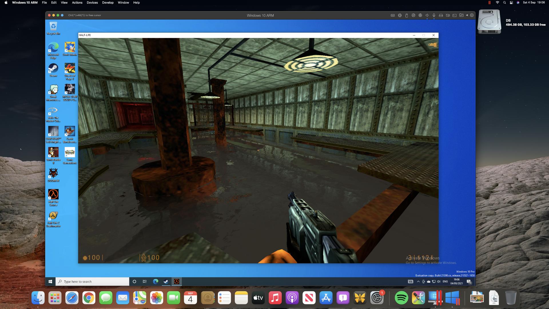 Half Life: Source running in Parallels Desktop on a Mac mini M1