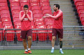 Barcelona Training and Press Conference – Wembley Stadium