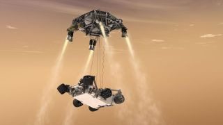 An illustration shows the skycrane that will be responsible for gently depositing the giant rover on the Martian surface.