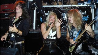 Jerry Dixon, Jani Lane and Joey Allen of the band Warrent perform at the Cat Club circa 1988 in New York City.