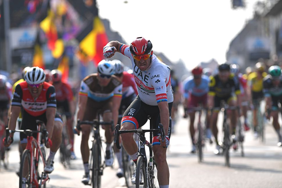 Alexander Kristoff (UAE Team Emirates) celebrates winning the 2019 edition of Gent-Wevelgem