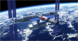 Artist's illustration of China's planned space station in Earth orbit.