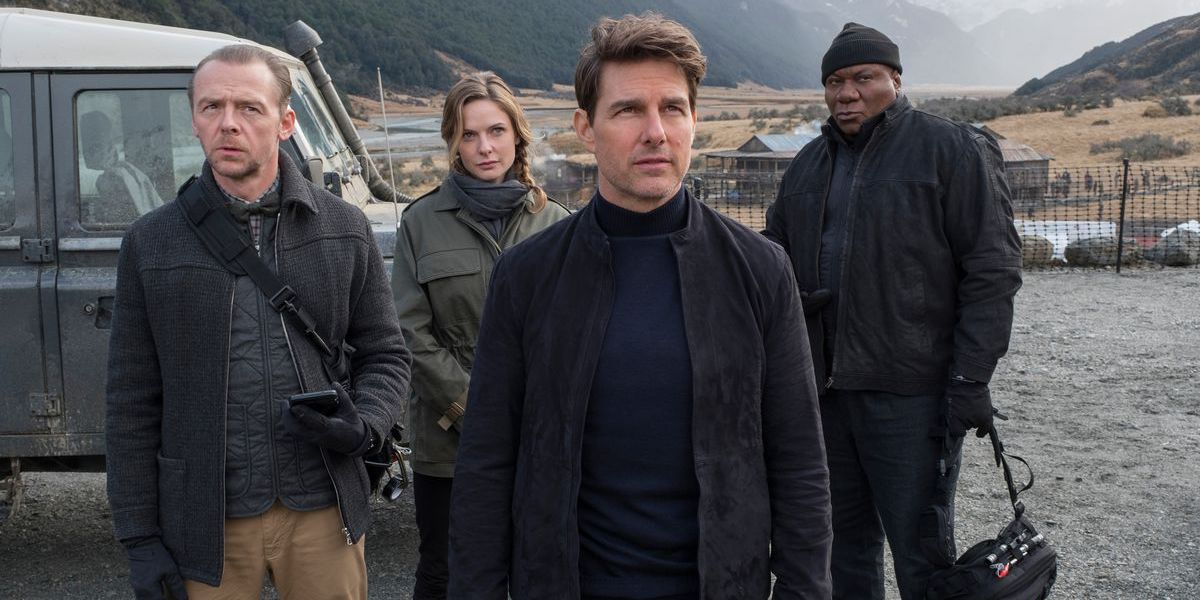 Simon Pegg, Rebecca Ferguson, Tom Cruise and Ving Rhames