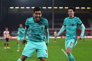 Liverpool's Roberto Firmino celebrates their second goal