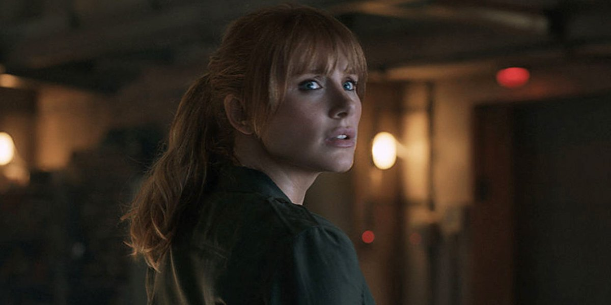 Bryce Dallas Howard looking scared in Jurassic World 3