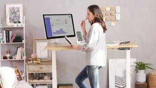 best standing desk: Woman using standing desk in home office